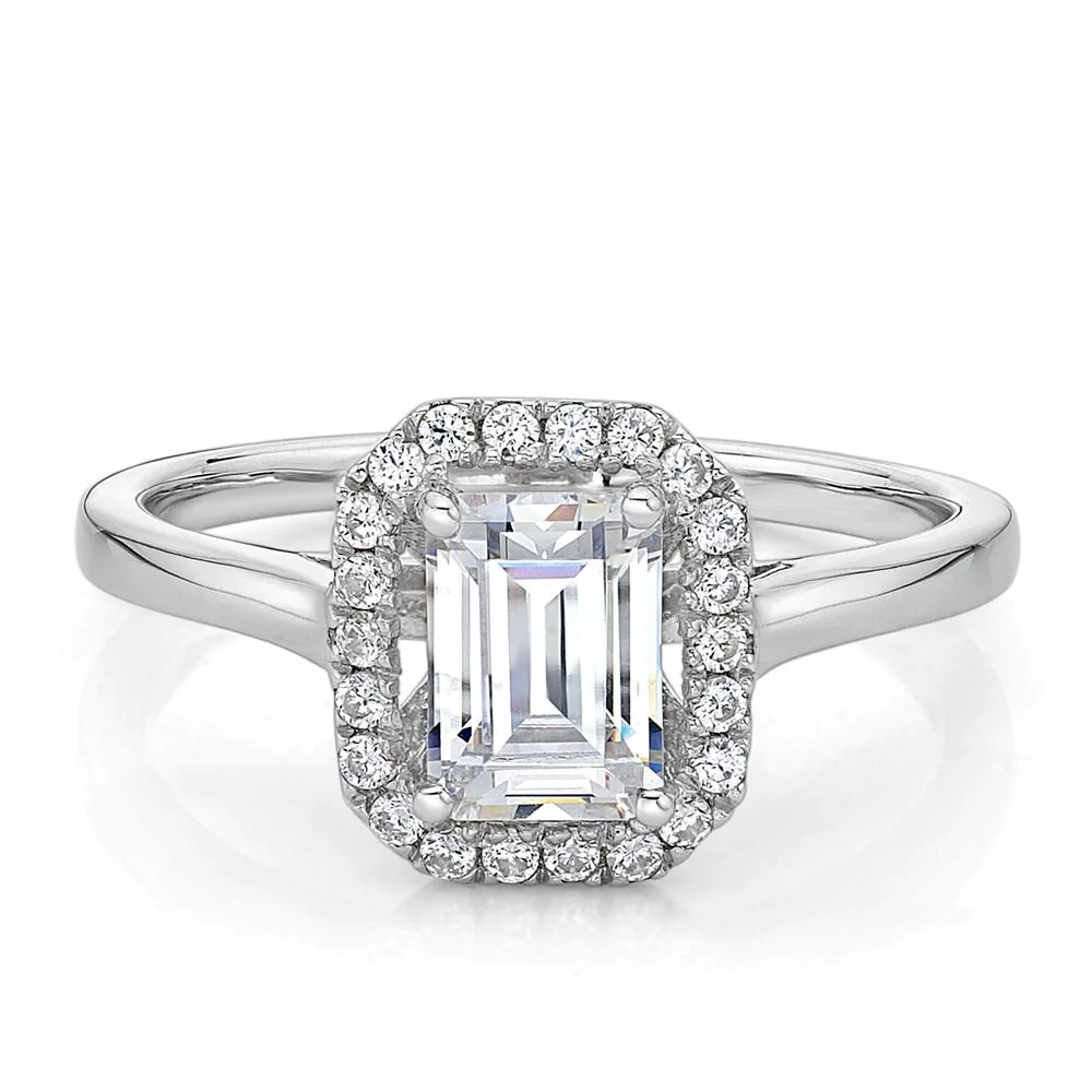 Emerald Cut Halo Plain Band Engagement Ring in White Gold ...