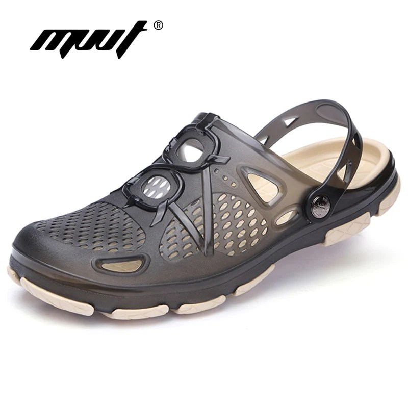 2019 New Summer Jelly Shoes Men Beach Sandals Hollow Slippers Men Flip Ridg It