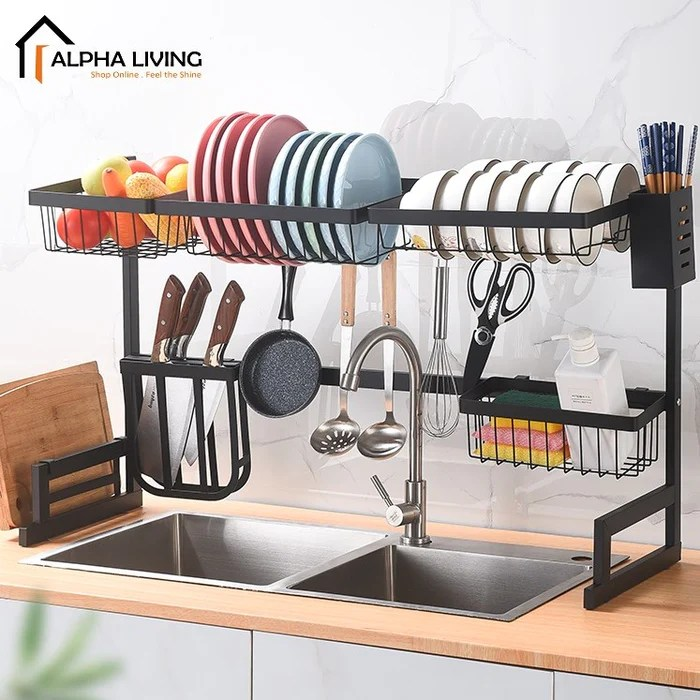 powder coated steel dish drainer kitchen sink top rack dish rack kitchen basin rack ktn0155