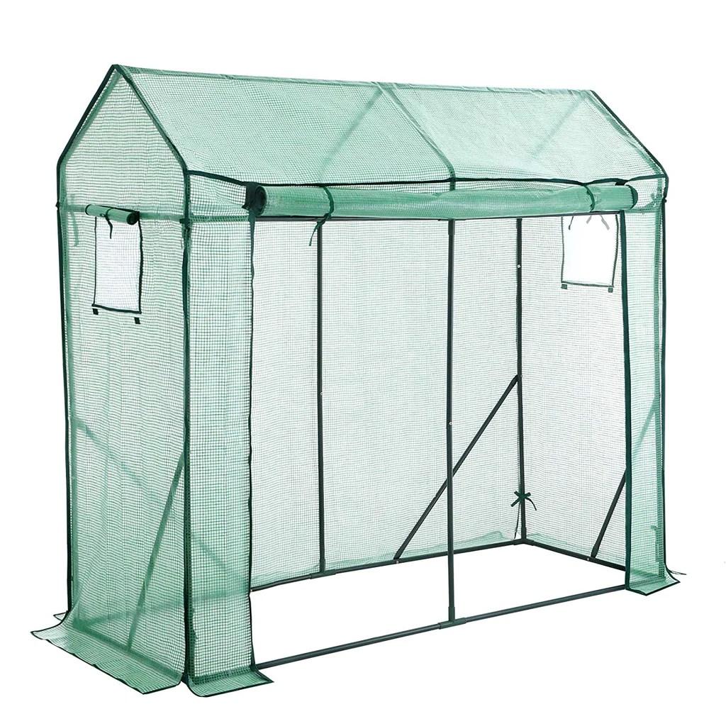 songmics serre de jardin avec porte enroulable et fenetre pour legumes tomates potager dimensions 200 x 77 x 169 cm vert gwp21gn