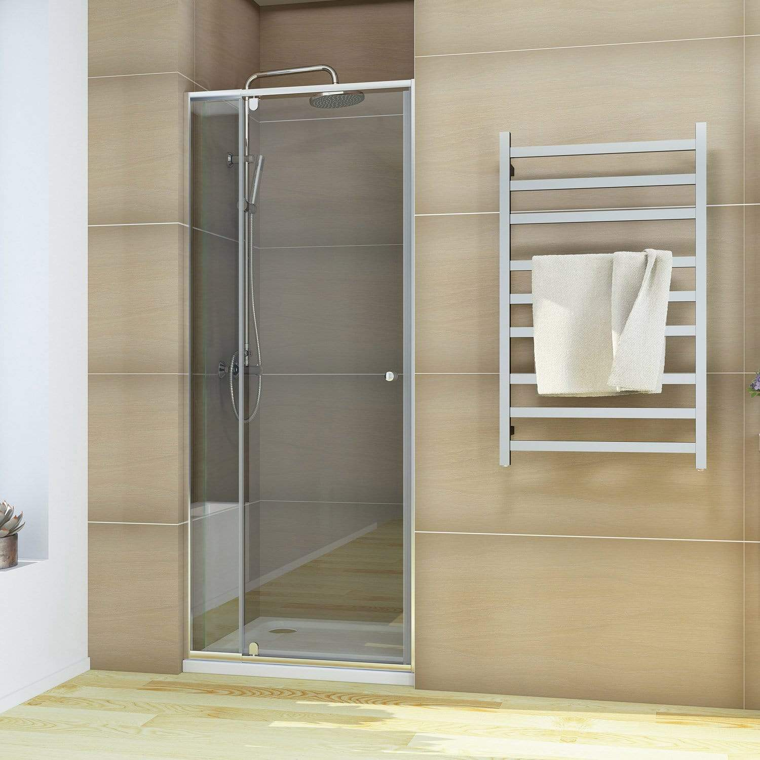Elegant Showers Semi Frameless Shower Screen Pivot Door