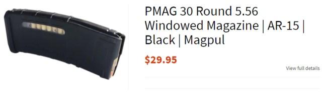 PMAG 30 Round 5.56 Windowed Magazine   AR-15   Black   Magpul