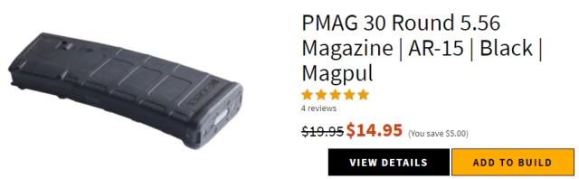 PMAG 30 Round 5.56 Magazine   AR-15   Black   Magpul