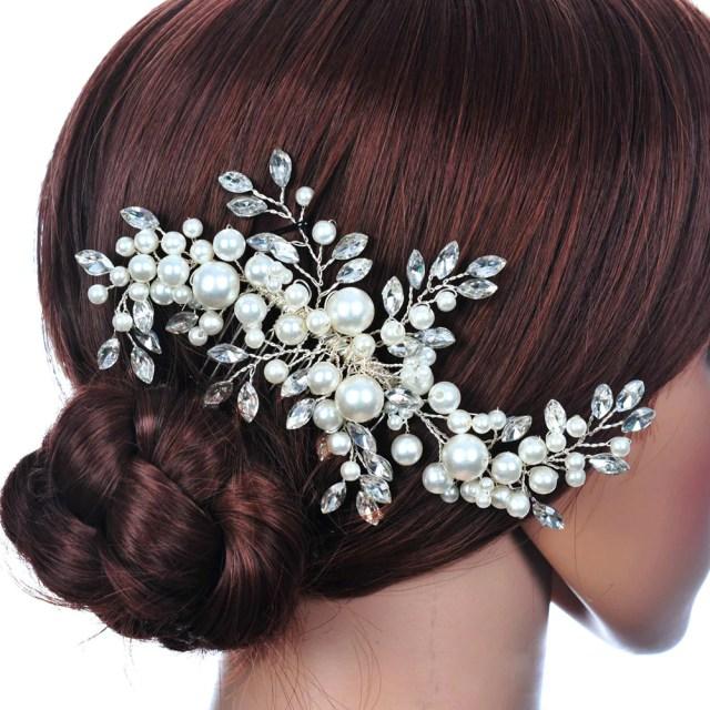 wedding hair accessories clips romantic crystal pearl flower rhinestone tiara bridal crown hair pins bride hair jewelry