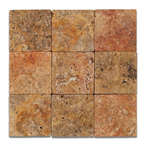 scabos travertine 4x4 tumbled field tile