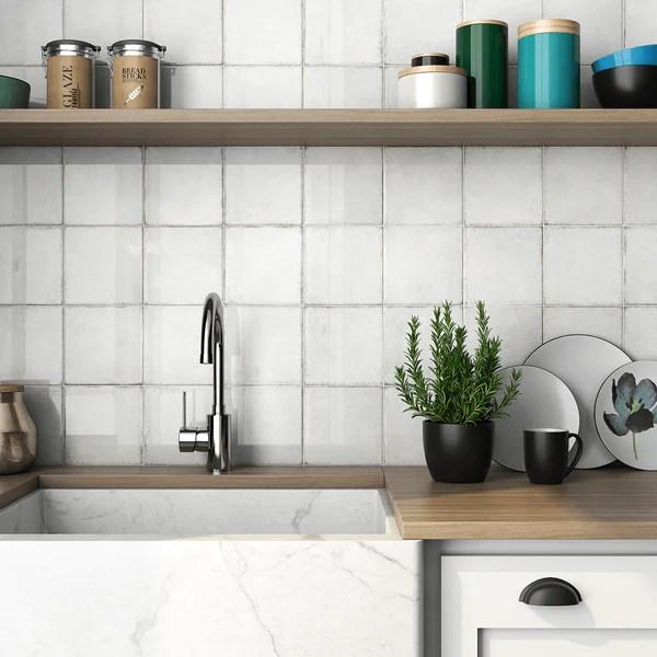 seville white ceramic 6x6 wall tile