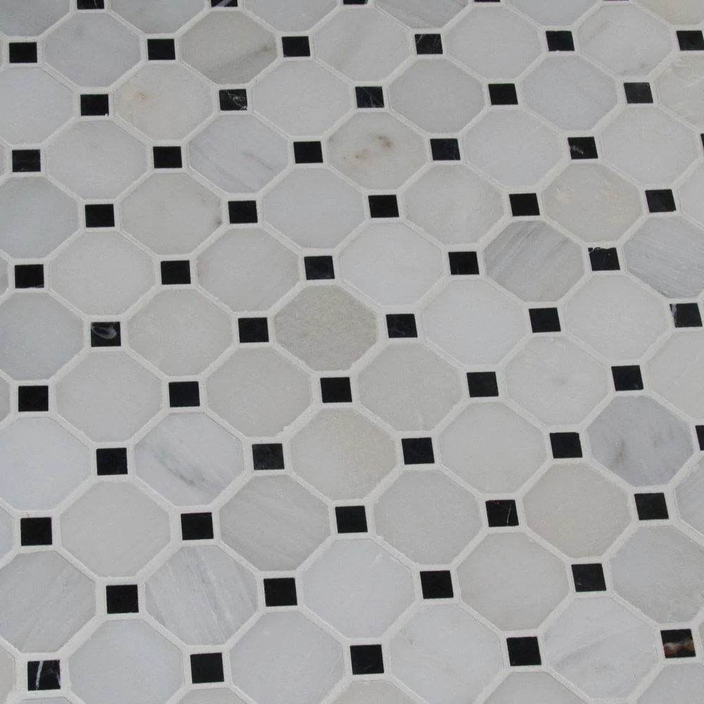 greecian white octagon marble mosaic tile