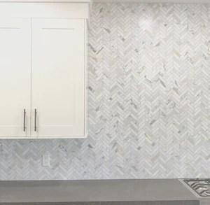 calacatta gold herringbone 1x4 mosaic polished honed