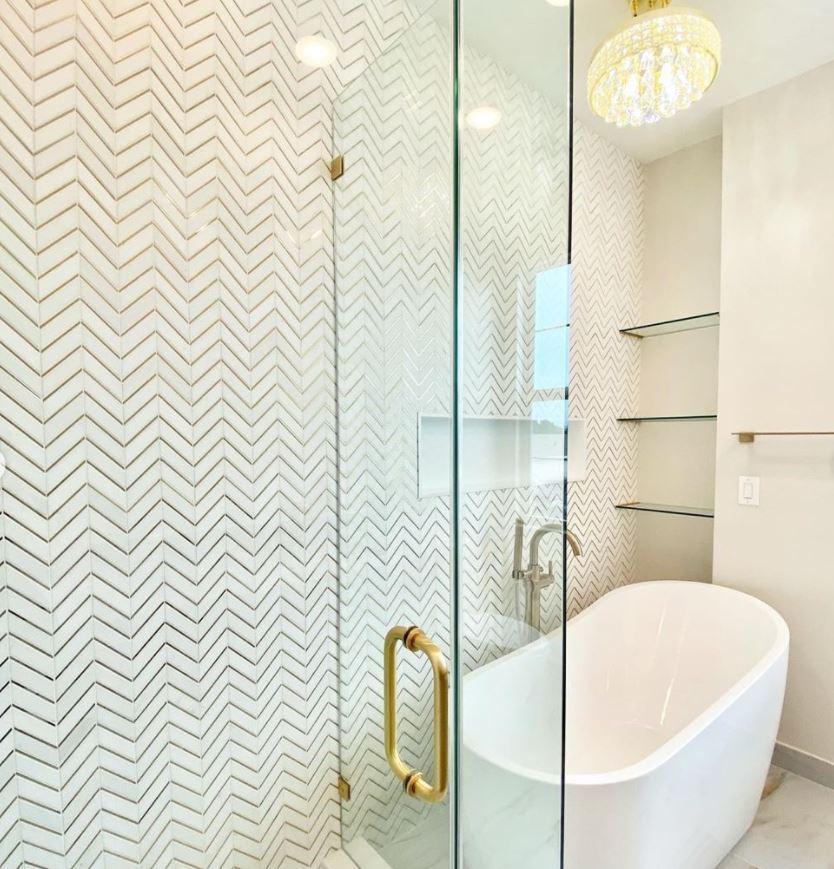 thassos white gold brass chevron marble mosaic