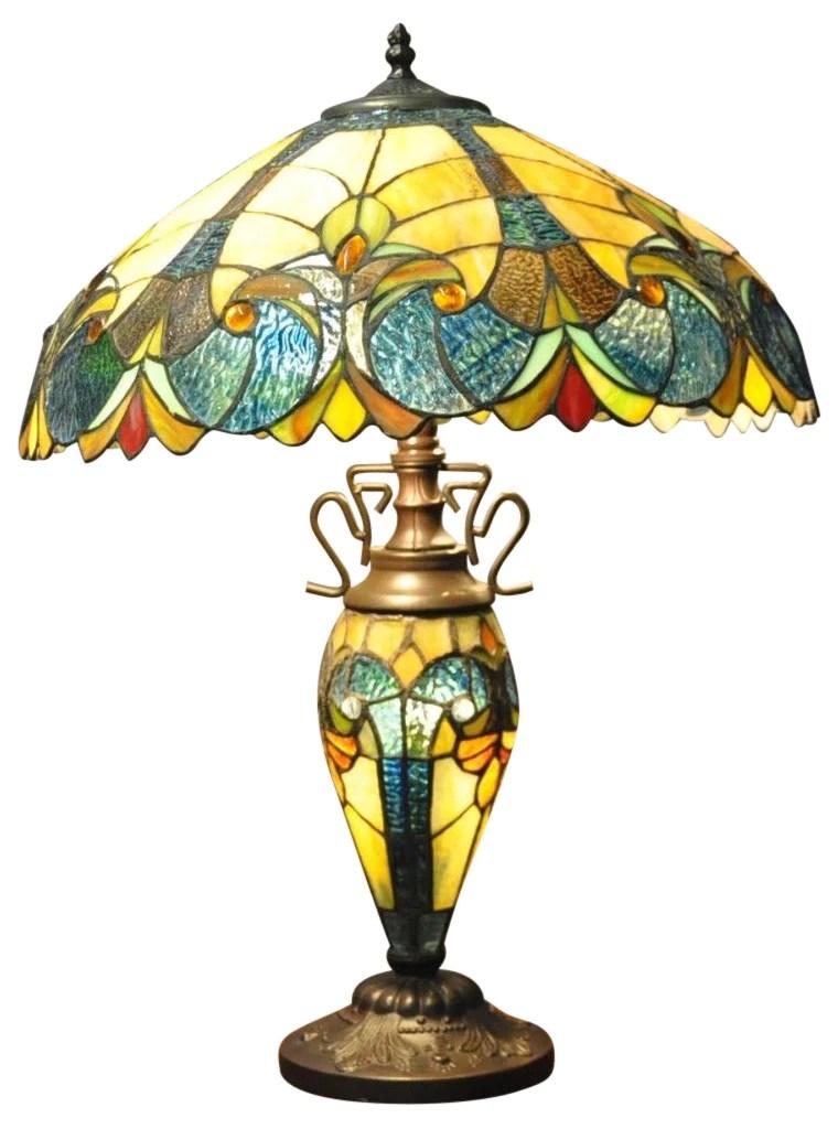 Blue Yellow Double Tiffany Table Lamp 68cm Bohokin