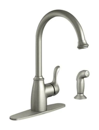 moen 87313srs finley single handle kitchen faucet with side spray stainless