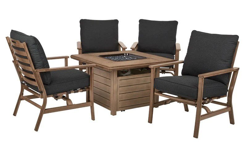 living accents s5 ahx02020 peninsula fire pit seating set brown