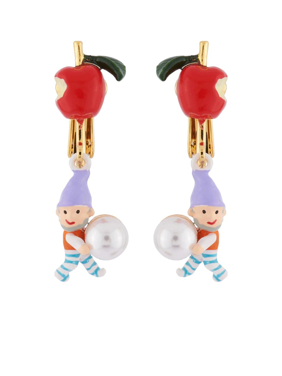 Snow White Little Apple with Dwarf and Bead Clip Earrings     Les N    r    ides Snow White Little Apple with Dwarf and Bead Clip Earrings   Zoomed Image