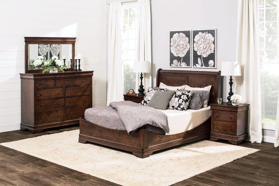 simply amish louis philippe sleigh bed with low footboard in your choice of wood and finish