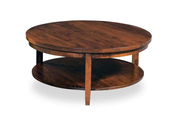 parkdale round coffee table with shelf