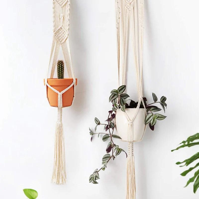 Set Of 4 Macrame Plant Hangers Hanging Plant Shelf Indoor Wall Planter Gardenmissyou
