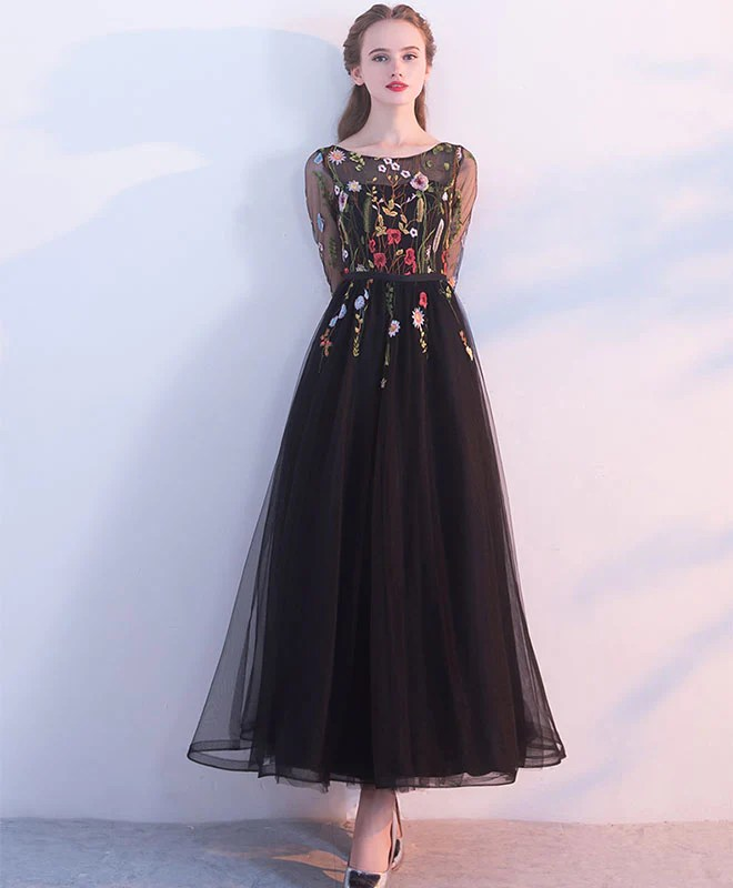 Black Lace Tulle Long Prom Dress Evening Dress Shopluu
