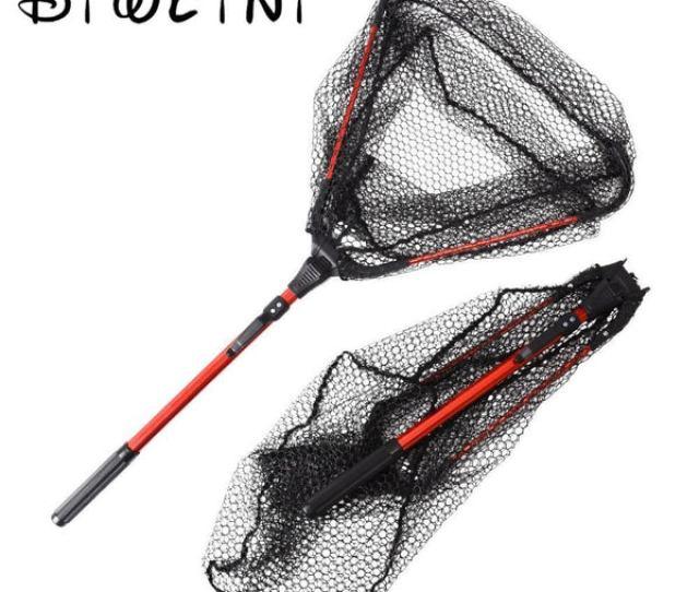 Folding Fishing Net Mesh Telescoping Aluminum Alloy Triangle Folding N Bargain Bait Box