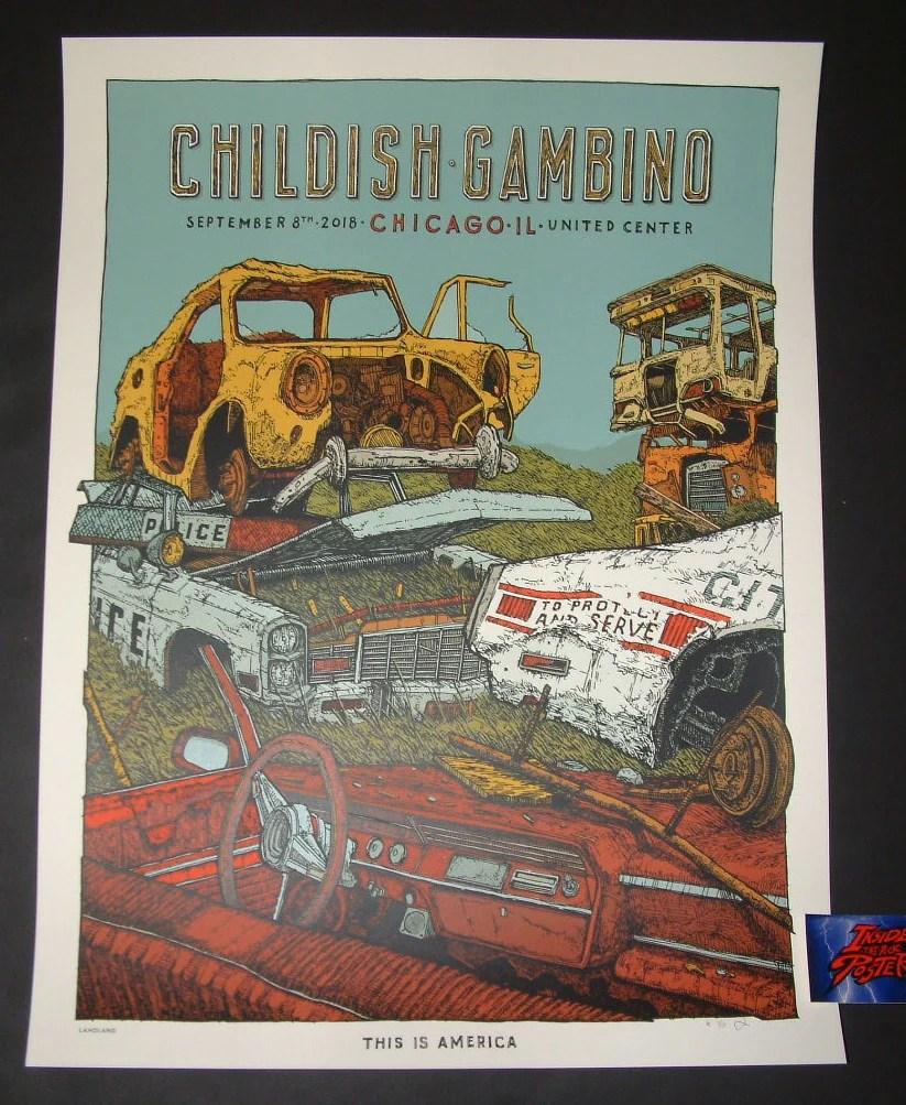 landland childish gambino chicago poster 2018 artist edition
