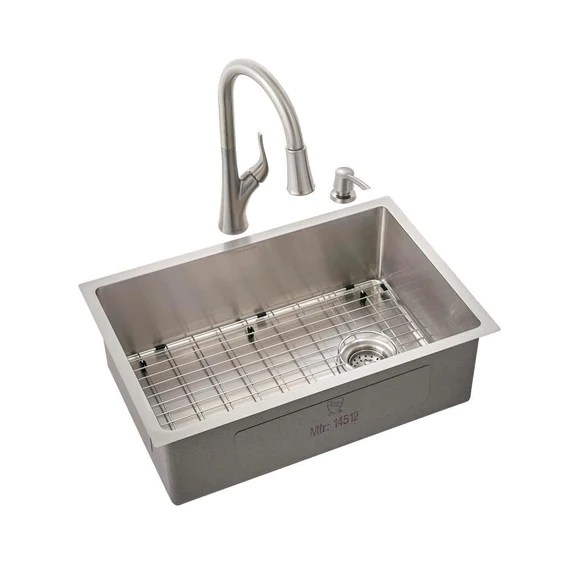 glacier bay all in one brushed stainless steel 27 in 18 gauge tight radius single bowl undermount kitchen sink with faucet