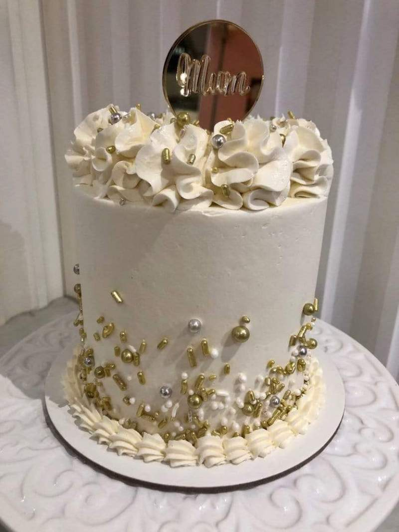 White, silver & gold Mother's Day Cake – Cake Creations by Kate™