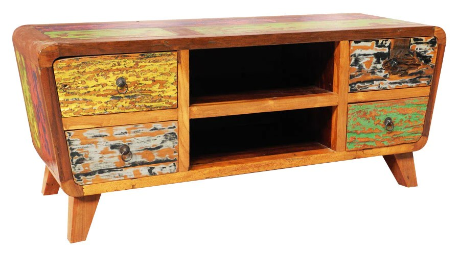 Reclaimed Boat Wood Entertainment Unit For Sale