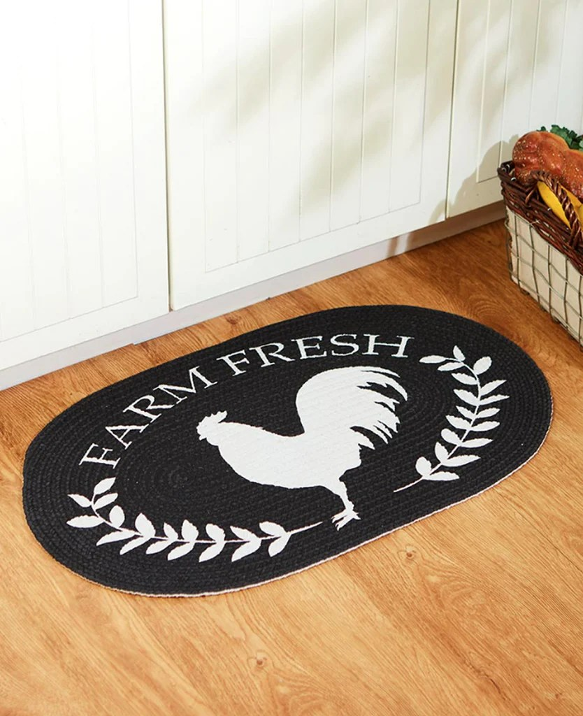 Country Farmhouse Cotton Braided Rooster Kitchen Floor Rug Oval