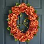 Oval Orange Hydrangea Front Door Wreath 26 In Hhgdecor