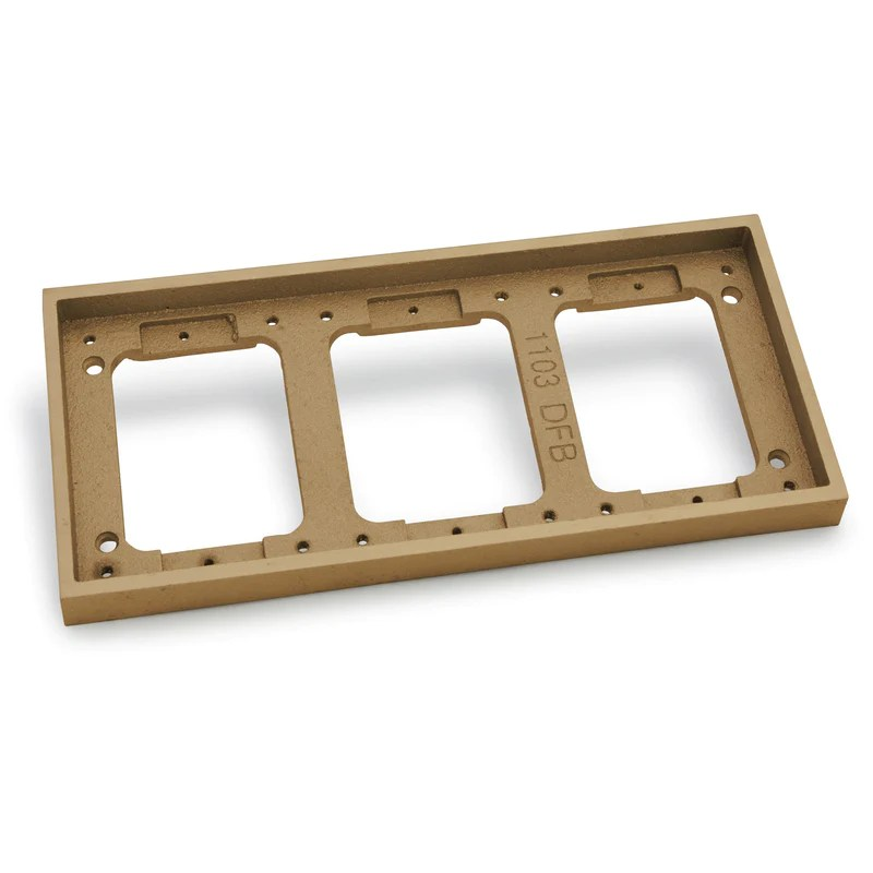 lew electric 1103 dbe b 3 gang tile flange for 1100 boxes brass floor box outlet