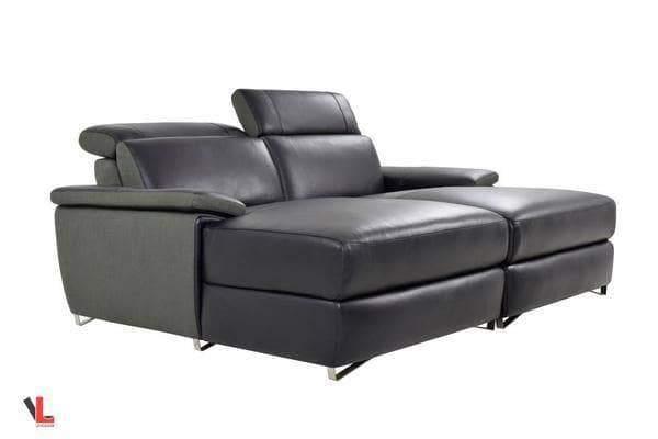 aura top grain black leather double chaise loveseat