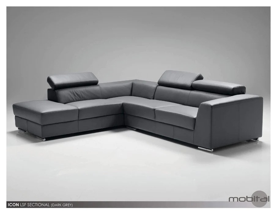 icon left hand chaise sectional black premium leather with side split available in 3 colours