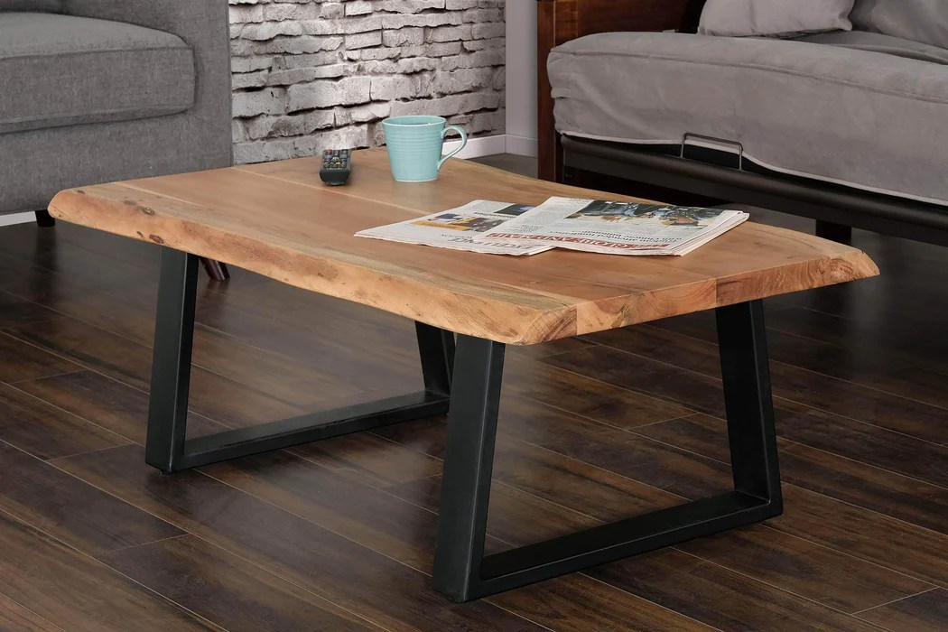 rustic solid acacia wood live edge top coffee table with metal legs