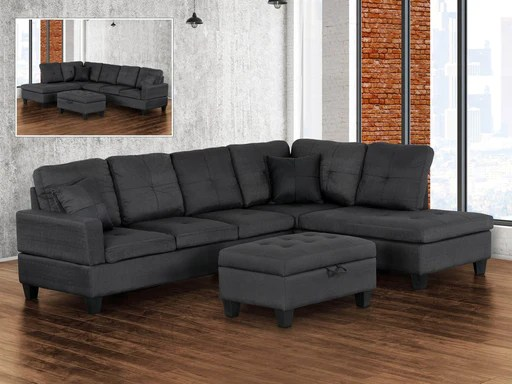 jackey tufted sectional sofa with left or right chaise