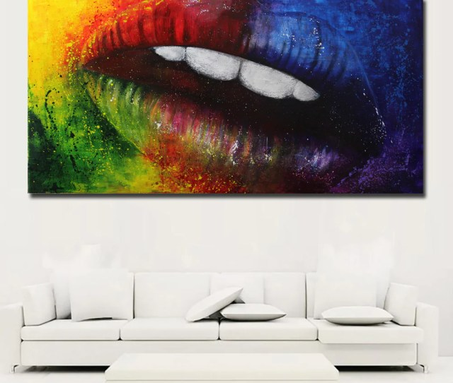 Abstract Art Colorful Sexy Mouth Prints Canvas Painting Cuadros Decora Discount Canvas Print