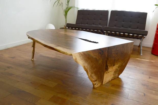 waterfalled cast slab coffee table