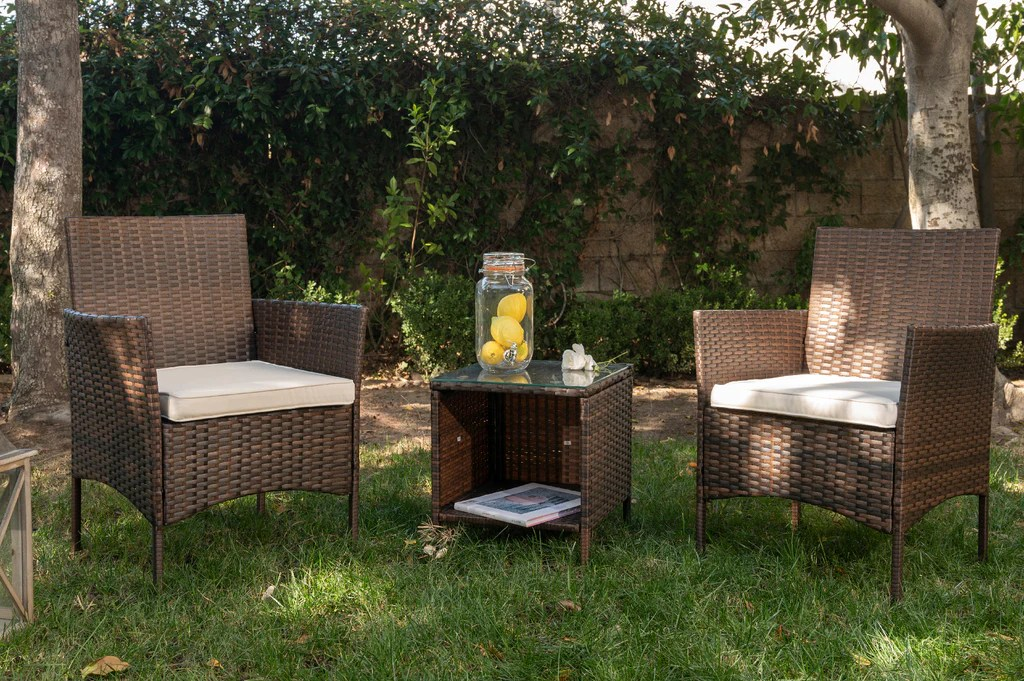 outdoor wicker chair 3pcs set rattan patio furniture table with seat cushions