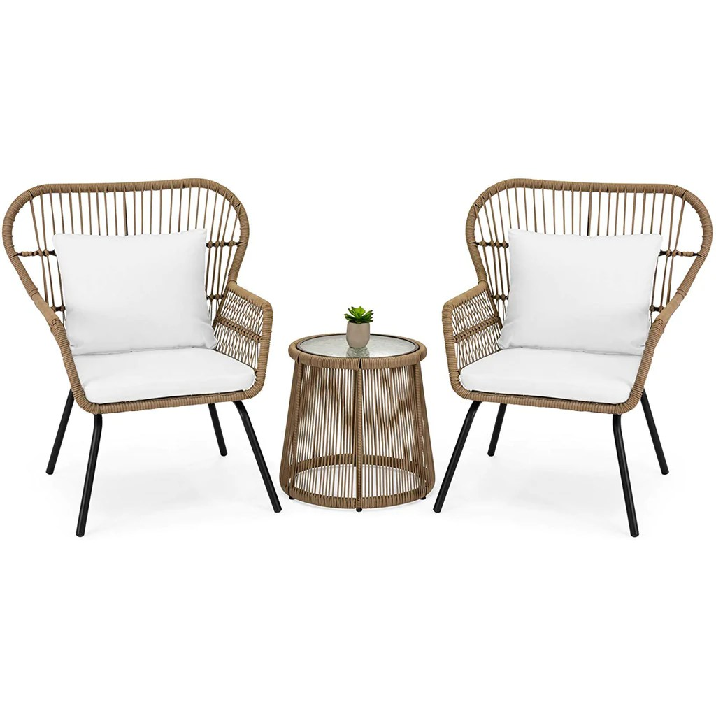 3 piece modern patio table and 2 chairs cushion bistro set outdoor wicker beige