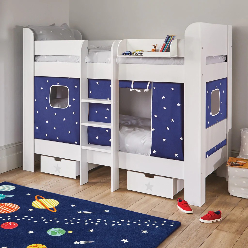 Paddington Bunk Bed Navy Stardust Curtains Great Little Trading Co
