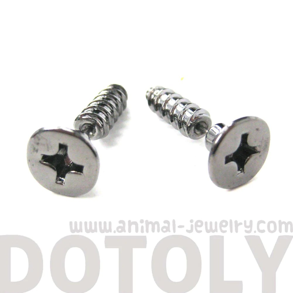 Fake Gauge Screw Shaped Faux Plug Earrings in Gunmetal ...