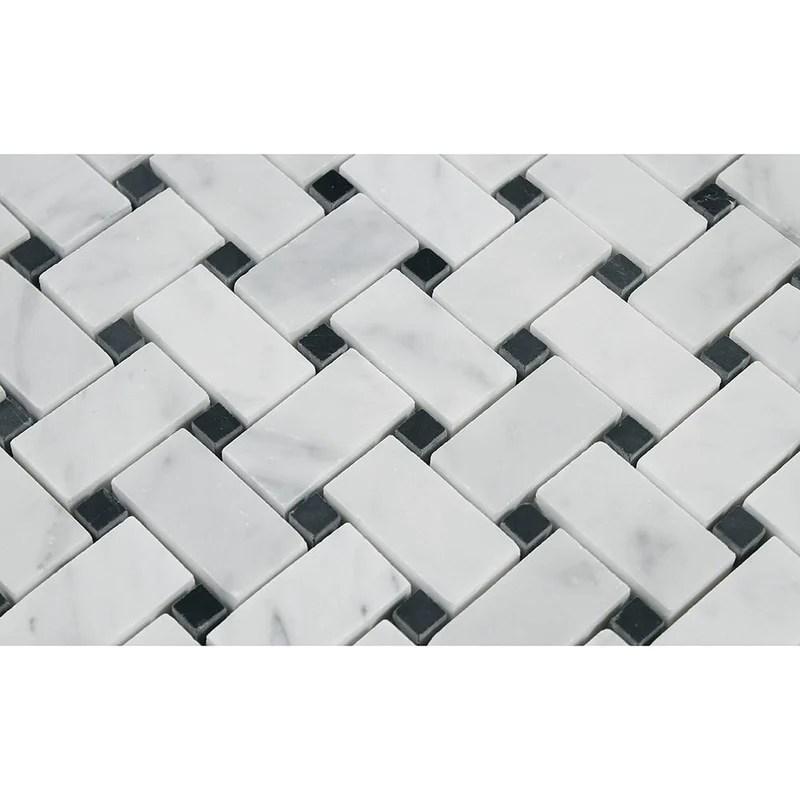 carrara white italian carrera marble basketweave mosaic tile with black dots