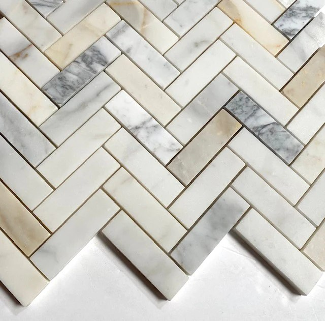 calacatta gold 1x3 herringbone mosaic marble tile italian marble