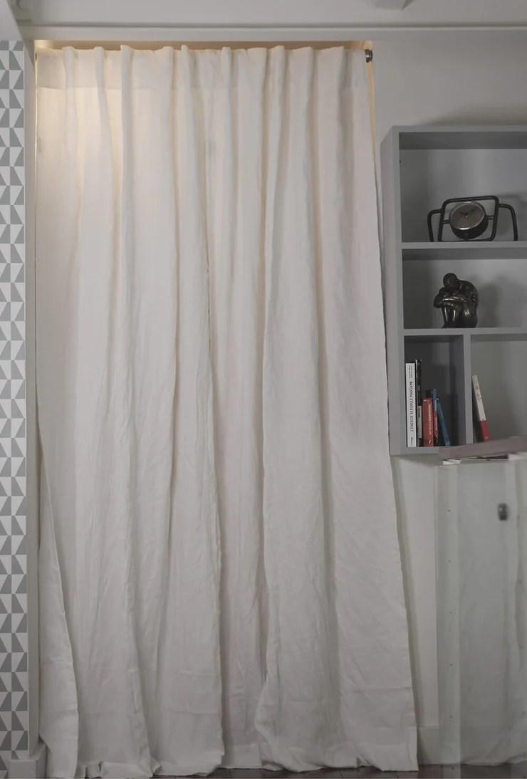 rideau en lin drape avec doublure en coton