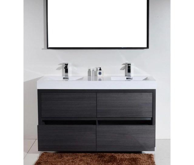 Lux 60 Gray Oak Double Sink Free Standing Modern Bathroom Vanity