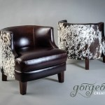 Leather Cowhide Feature Tub Chair Glossy Leather