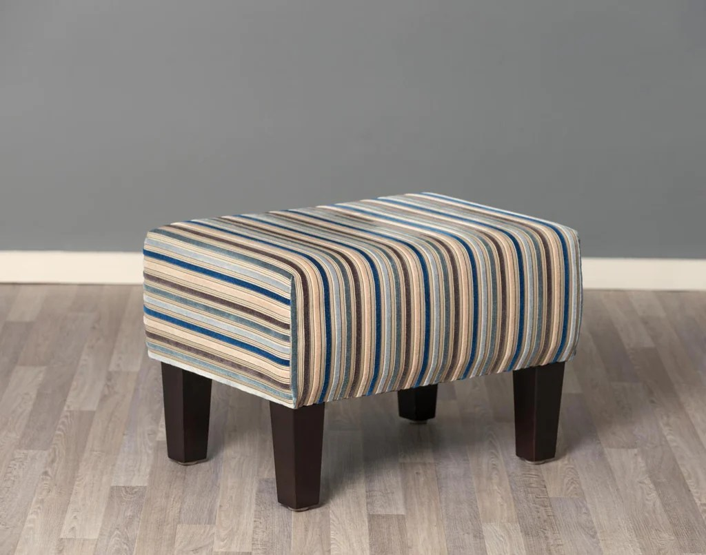stripe fabric footstool with wood legs 55x40x37cm