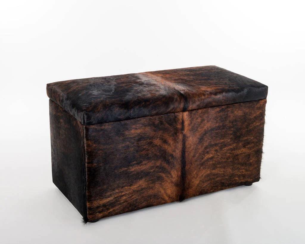 storage furniture or blanket box covered in cowhide 90x50x45cm