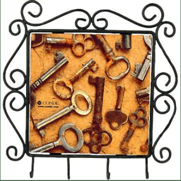 black wrought iron frame for 6x6 ceramic tile with key hooks