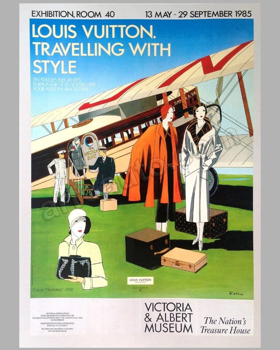 louis vuitton traveling with style exhibition at the victoria albert museum large poster by razzia