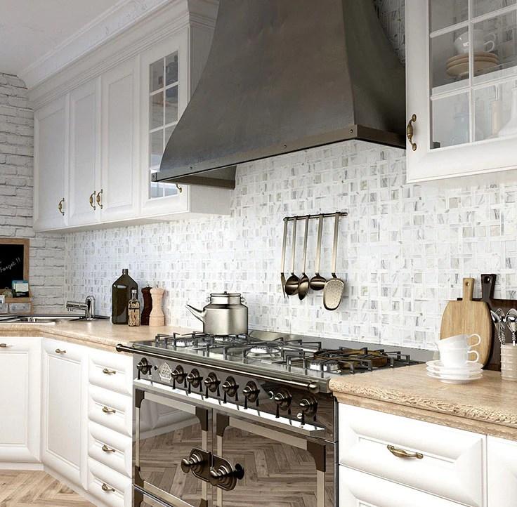 kitchen backsplash tile behind the stove