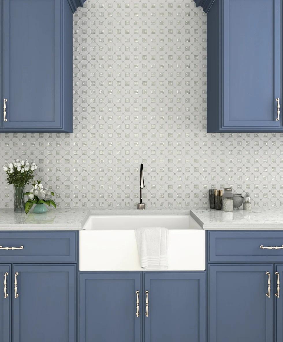 geometric pearl white thassos shell tile
